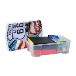 Κουτί Αποθήκευσης 56x39x18cm Πλαστικό 35lt Διάφανο Decor ROUTE 66 ARTPLAST Ιταλίας