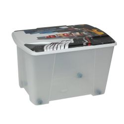 Κουτί Αποθήκευσης 56x39x35cm Πλαστικό 55lt Διάφανο Decor New York ARTPLAST Ιταλίας