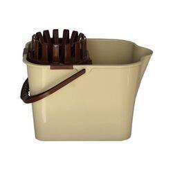 Κουβάς Σφουγγαρίσματος 16lt 38x25.5x32cm με Στίφτη και Ρόδες Μπεζ-Καφέ