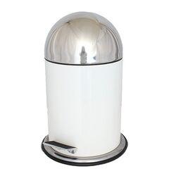 Κάδος Τουαλέτας Μεταλλικός 5lt με Πεντάλ Φ24.5x36.5cm Λευκός με Πομπέ Ανοξείδωτο Καπάκι VESTA