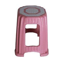 Σκαμπό Πλαστικό 35.5x35.5x46.5cm Βάρος 1.11kg Αντοχή 125kg  Ροζ-Λευκό