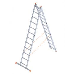 Σκάλα Αλουμινίου 2x12 Σκαλιά Αναπτυσσόμενη 5,71m Διπλή-Σχήμα ''Λ'' με Βάση Στηρίγματος 13.3kg Αντοχή 150kg SN7212