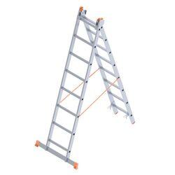 Σκάλα Αλουμινίου 2x8 Σκαλιά Αναπτυσσόμενη 3.55m Διπλή-Σχήμα ''Λ'' με Βάση Στηρίγματος 9kg Αντοχή 150kg SN7208
