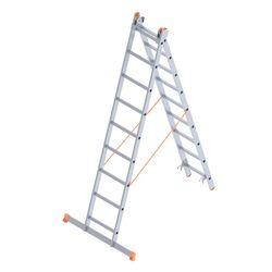 Σκάλα Αλουμινίου 2x9 Σκαλιά Αναπτυσσόμενη 4.09m Διπλή-Σχήμα ''Λ'' με Βάση Στηρίγματος 9.65kg Αντοχή 150kg