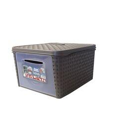 Κουτί Αποθήκευσης 31x40x22cm Πλαστικό 20lt RATTAN Γκρι-Καφέ BAMA Ιταλίας