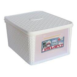 Κουτί Αποθήκευσης 31x40x22cm Πλαστικό 20lt RATTAN Λευκό BAMA Ιταλίας