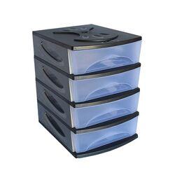 Πλαστική Συρταριέρα 26x35x39cm 4όροφη Γραφείου Ανθρακί-Διάφανο BAMA GROUP Ιταλίας