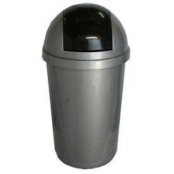 Κάδος Απορριμάτων 60lt Πλαστικός Ø40x77cm Επαγγελματικός Ασημί-Μαύρο VIOMES Ελλάδας