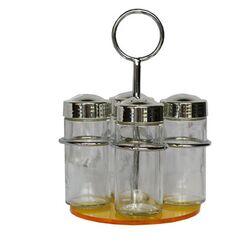 Σετ Μπαχαρικών 4 Θέσεων Φ12x19cm Μεταλλικό με Γυάλινα Βαζάκια και Θερμοπλαστική Κίτρινη Βάση