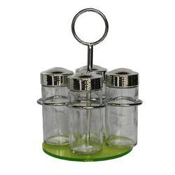 Σετ Μπαχαρικών 4 Θέσεων Φ12x19cm Μεταλλικό με Γυάλινα Βαζάκια και Θερμοπλαστική Πράσινη Βάση