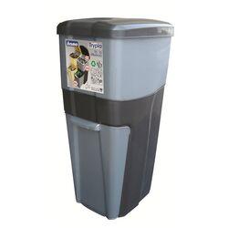 Κάδος Ανακύκλωσης Απορριμάτων 28x39x70 Τριπλός Πλαστικός Κουζίνας 38,5lt Γραφίτης-Ασημί 2,5kg
