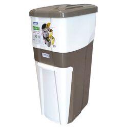 Κάδος Ανακύκλωσης Απορριμάτων 28x39x70 Τριπλός Πλαστικός Κουζίνας 38,5lt Λευκό-Καφέ Σκούρο 2,5kg