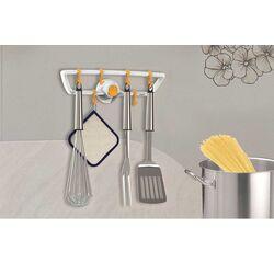 Κρεμάστρα Κουζίνας με 8 γάντζους 29.3x8.1x9.4cm Πλαστική Επιτοίχια Λευκή-Κίτρινη BAMA Ιταλίας