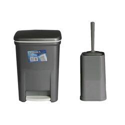 Σετ Κάδος Μπάνιου με Πεντάλ 13.5lt με Εσωτερικό Κάδο 7lt και Πιγκάλ Πλαστικό Ανθρακί Ελλάδας