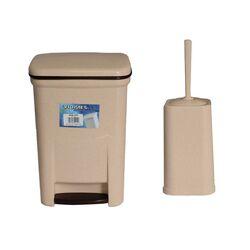 Σετ Κάδος Μπάνιου με Πεντάλ 13.5lt με Εσωτερικό Κάδο 7lt και Πιγκάλ Πλαστικό Μπεζ Γρανίτης Ελλάδας