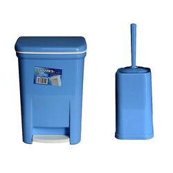 Σετ Κάδος Μπάνιου με Πεντάλ 13.5lt με Εσωτερικό Κάδο 7lt και Πιγκάλ Πλαστικό Γαλάζιο Ελλάδας