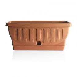 BAMA ITALY Ζαρντινιέρα Υψηλής Αντοχής 61x29x26cm 68lt με Αυτοποτιζόμενο Πιάτο 1.3kg Πλαστική Κεραμιδί NATURA