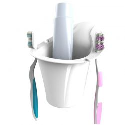 Θήκη Οδοντόβουρτσας Τοίχου 12.2x13.1x12.8cm Πλαστική με Βεντούζα και Σύστημα Κλείδωματος Λευκή BAMA Ιταλίας