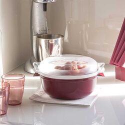 Ατμομάγειρας για Φούρνο Μικροκυμάτων Ø25x12.5cm με Αφαιρούμενο Δοχείο 1,8lt Πλαστικό Μπορντό-Λευκό COOKY BAMA Ιταλίας