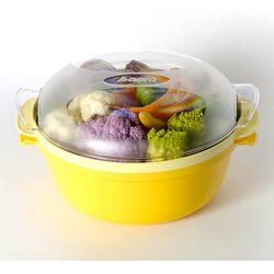 Ατμομάγειρας για Φούρνο Μικροκυμάτων Ø25x12.5cm με Αφαιρούμενο Δοχείο 1,8lt Πλαστικό Κίτρινο-Λευκό COOKY BAMA Ιταλίας