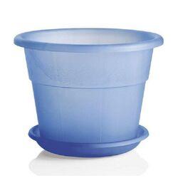Γλάστρα Ημιδιαφανής DECOR με Πιάτο Ø20 8lt και Ø25 10lt Πλαστική Μπλε HEDERA BAMA Ιταλίας