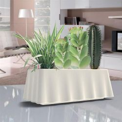 BAMA ITALY Ζαρντινιέρα Αυτοποτιζόμενη 50x20x17.5cm Κυματιστή 8,7lt Πλαστική Λευκή