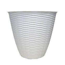 Κασπώ Στρογγυλό Πλαστικό με Σχέδιο Ψάθα Λευκό BAMA Ιταλίας