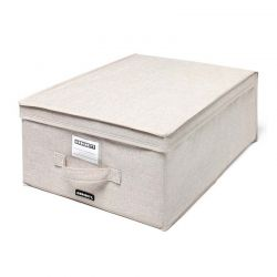 ORDINETT ITALY Κουτί Αποθήκευσης Ρούχων 36x48x19cm Πολυεστέρας 33lt 0.95kg BOX MEDIUM LINETTE Μπεζ