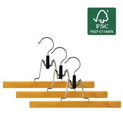 ORDINETT ITALY Κρεμάστρες Ρούχων 33x2x15cm (x3) από Οικολογικό Ξύλο με Πιστοποίηση FSC ΣΕΤ 3 Τεμαχίων PANTS HANGER Καφέ