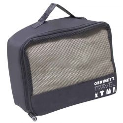 ORDINETT ITALY Τσάντα Ταξιδιών 26x20x10cm Πολυεστέρας 5.2lt με Φερμουάρ J-BAG TRAVEL Σκούρο Γκρι