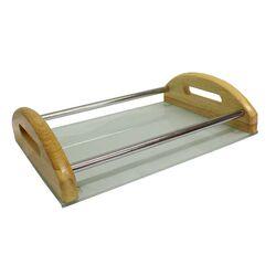 Δίσκος Σερβιρίσματος 35x25x9cm Επινικελωμένο Ατσάλι + Ξύλο + Γυαλί 1.79kg