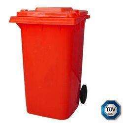 Κάδος Απορριμμάτων με Ρόδες 120lt 55x50x95cm Πλαστικός ΒΑΡΕΟΥ ΤΥΠΟΥ 10kg με Χειρολαβή Επαγγελματικός/Κήπου Κόκκινος ICS Ιταλίας