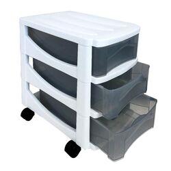 Πλαστική Συρταριέρα 30x40x40cm Γραφείου 3όροφη με Ρόδες Λευκό-Διάφανο BAMA Ιταλίας