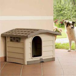 Σπίτι Σκύλου 89x75x62cm Μεγάλου/Μεσαίου Μεγέθους με Ρυθμιζόμενη Οροφή και Πάτωμα 10kg Μπεζ/Καφέ BUNGALOW BAMA Ιταλίας