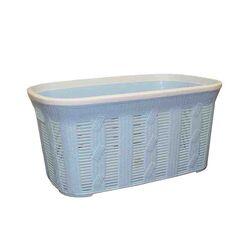Καλάθι Ρούχων 54.5x35x26cm 40lt Πλαστικό με Σχέδιο Πλεξούδα Γαλάζιο