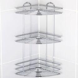 TEKNO-TEL Γωνιακή Εταζέρα Μπάνιου 3όροφη 21x21x46cm Πάχος Ø5mm Βάρος 1.45kg Επιχρωμιωμένο Ατσάλι