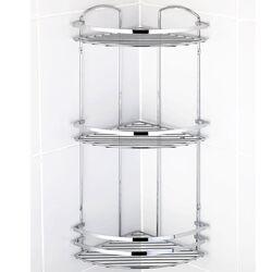 TEKNO-TEL Γωνιακή Ραφιέρα Μπάνιου Τοίχου 3όροφη Μπάνιου 32x24x62cm Πάχος Ø5mm Επιχρωμιωμένο Ατσάλι