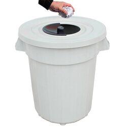 PLANET Κάδος Απορριμάτων 120lt Ø56x67cm Επαγγελματικός Πλαστικός με Καπάκι + Ημικυκλική Θυρίδα Απορριμάτων 3.75kg Λευκό Πάγου