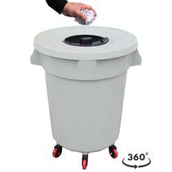 PLANET Κάδος Απορριμάτων 120lt Ø56x77cm Επαγγελματικός Πλαστικός με Καπάκι + Ημικυκλική Θυρίδα Απορριμάτων και 6 Ρόδες 360° 4.3kg Λευκό Πάγου