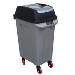 Κάδος Απορριμάτων 70lt 47x35x77cm 3kg Πλαστικός Επαγγελματικός/Οικιακός με Παλλόμενο Άνοιγμα και 4 Ρόδες Γκρι-Μαύρο