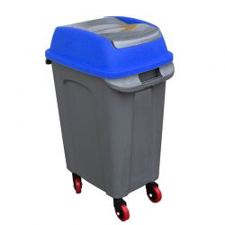 PLANET Κάδος Απορριμάτων 50lt 44x31x71cm 2.5kg Πλαστικός Επαγγελματικός/Οικιακός με Παλλόμενο Άνοιγμα και 4 Ρόδες Γκρι-Μπλε