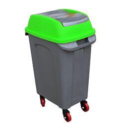 PLANET Κάδος Απορριμάτων 50lt 44x31x71cm 2.5kg Πλαστικός Επαγγελματικός/Οικιακός με Παλλόμενο Άνοιγμα και 4 Ρόδες Γκρι-Πράσινο