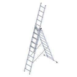 Σκάλα Αλουμινίου 3x10 Σκαλιά Επαγγελματική 6,48m Αναπτυσσόμενη Τριπλή με Βάση Στηρίγματος 14,5kg Αντοχή 150kg