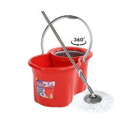 SPIN MOP CLASSIC Κουβάς Σφουγγαρίσματος 49x30x31cm 19lt 2.38kg με Περιστρεφόμενο Σύστημα Σφουγγαρίσματος 360° + Κοντάρι  Κόκκινο