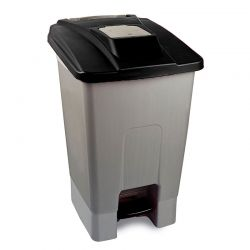 Κάδος Απορριμάτων 100lt 60x50x82cm Πλαστικός 5.8kg με Ρόδες Πεντάλ και Μικρό Ανοιγόμενο Καπάκι Γκρι-Μαύρο
