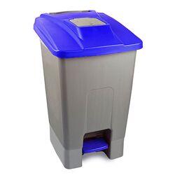 Κάδος Απορριμάτων 100lt 60x50x82cm Πλαστικός 5.8kg με Ρόδες Πεντάλ και Μικρό Ανοιγόμενο Καπάκι Γκρι-Μπλε