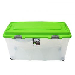 BAMA ITALY Κουτί Αποθήκευσης 80x40x45cm 85lt Πλαστικό με Κλιπς και 4 Ρόδες Διάφανο-Λαχανί IPERBOX