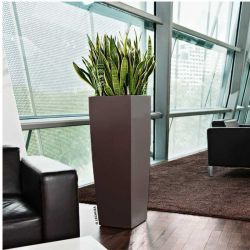LECHUZA CUBICO ALTO 40 Premium Επιδαπέδια Γλάστρα 39.5x39.5x105cm Αυτοποτιζόμενη με Δοχείο Φύτευσης Καφέ Espresso Γυαλιστερή Γερμανίας