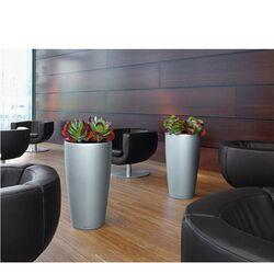 LECHUZA RONDO 32 Premium Επιδαπέδια Γλάστρα Ø32.5x56.5cm ΑΥΤΟΠΟΤΙΖΟΜΕΝΗ με Δοχείο Φύτευσης Ασημί Σατινέ Γερμανίας