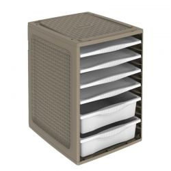 BAMA ITALY Συρταριέρα Ρούχων 34x41x53cm 4.37kg Πλαστική με 4 Δίσκους και 2 Συρτάρια Γκρι-Καφέ RIORDINO TORTORA